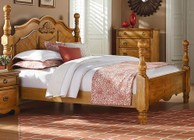 Standard Furniture Georgetown Collection 8301123 King Size Poster Bed with Decorative Carved Shell Ornament  Curvy Crown Molding and Turned Posts in Honey Pine Finish
