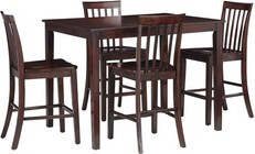 Standard Furniture Stanton Collection 18092 5-Piece Dining Room Set with Counter Height Table and 4 Counter Height Chairs in Brown