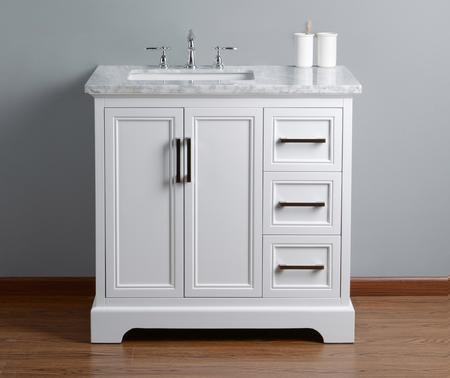 Stufurhome HD 1525W 36 CR Ariane 36 Inches White Single Vanity Cabinet  Single Bathroom Sink