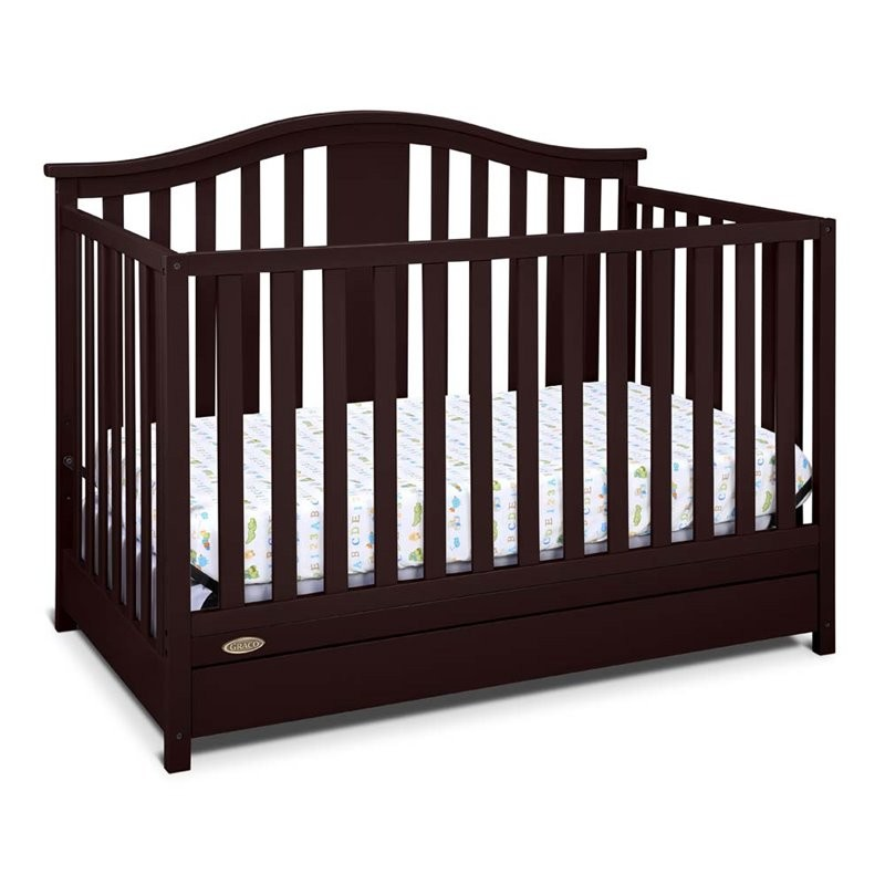 Stork Craft USA Graco Solano 4 In 1 Convertible Crib With Drawer In Espresso