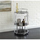 Steve Silver Otero Glass Bar Cart in Chrome and Black