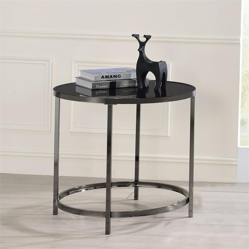Steve Silver Company Rayne Black Faux Marble Glass and Chrome Round End Table   Discount Bandit