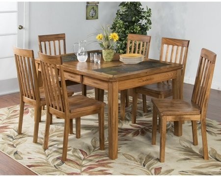 Sunny Designs Sedona Collection 1273RODT6C 7 Piece Dining Room Set With Dining  Table And 6 Chairs In Rustic Oak Finish