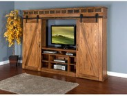 "Sunny Designs Sedona Collection 3574RO 121"" Barn Door Entertainment Wall with Barn Inspired Doors  Adjustable Shelves and 2 Utility Drawers in Rustic Oak Finish"