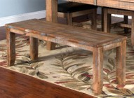 """Sunny Designs Puebla Collection 1461DW 48"""" - 72"""" Bench with Butterfly Extension  Apron and Tapered Legs in Driftwood Finish"""