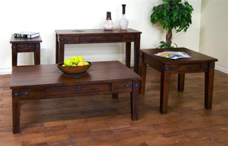 Sunny Designs 3160DC CKIT1 Santa Fe Coffee Table With Chair Side Table End  Table And Sofa/Console Table In Dark Chocolate Finish