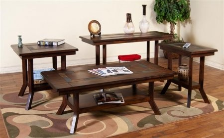 Sunny Designs 3175DC CSKIT2 Santa Fe Coffee Table With Chair Side Table End  Table And Sofa/Console Table In Dark Chocolate Finish