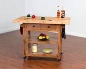 """Sunny Designs Sedona Collection 2238RO 48"""" Butcher Block Table with Solid Birch Block Top  Adjustable Shelf and 4 Lock Casters in Rustic Oak Finish"""