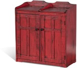 """Sunny Designs 2110BR-3 31"""" Trash and Recycle Box with Round Metal Knobs  Distressed Detailing and Birch Wood Construction in Burnt Red"""