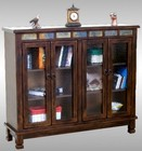 """Sunny Designs Santa Fe Collection 2813DC 49"""" Bookcase with 2 Beehive Glass Doors  2 Adjustable Shelves and Decorative Pulls in Dark Chocolate Finish"""