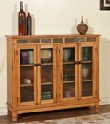 """Sunny Designs Sedona Collection 2813RO 49"""" Bookcase with 2 Waterfall Glass Doors  2 Adjustable Shelves and Decorative Pulls in Rustic Oak Finish"""