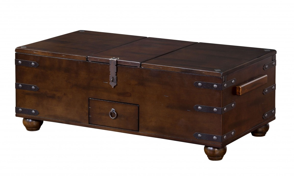 Sunny Designs Santa Fe Collection 3166dc C 48 Trunk Coffee Table With Lift Top Full Extension Drawer And Distressed Rustic Hardware In Dark Chocolate