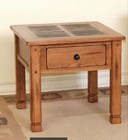 """Sunny Designs Sedona Collection 3144RO-2 26"""" End Table with Dovetailed Drawer  Natural Slate and Dented Rustic Knobs in Rustic Oak Finish"""