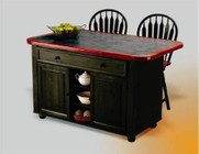 Sunset Selections Collection CY-KITT02-B24-AB3PC 3 PC Kitchen Island Set with Kitchen Island + 2 Bar Stools