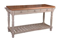 Sunset Trading CC-TAB183TLD-CSSV Cottage Kitchen Island Sideboard in Cobblestone With Salvage Top