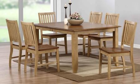 Sunset Trading Brook Collection DLU-BR4272-C60-PW7PC 7-Piece Dining Room  Set with Extension Dining Table and 6x Side Chairs in Distressed Two Tone  ...