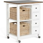 """Sunny Designs 2013WN 32"""" Kitchen Island with 4 Drawers  2 Shelves  2 Removable Woven Baskets  Casters and Wood Construction in White and Natural"""