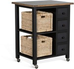 """Sunny Designs 2013BN 32"""" Kitchen Island with 4 Drawers  2 Shelves  2 Removable Woven Baskets  Casters and Wood Construction in Black and Natural"""