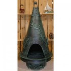The Blue Rooster Company ALCH009AGGKNG Gas Powered Garden Style Chiminea in Antique Green - Natural Gas