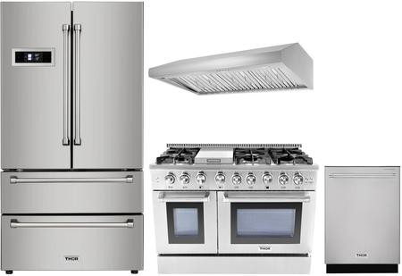 Thor Kitchen 4 Piece Stainless Steel Kitchen Package With Hrf3601f 36 French Door Refrigerator Hrg4808u 48 Freestanding Gas Range Hrh4805u 48 Under Cabinet Ducted Hood And Hdw2401ss 24 Built In Dishwasher Discount Bandit