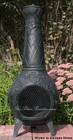The Blue Rooster Company ALCH001AG Grape Chimenea Outdoor Fireplace With Hinged SS Mouth Spark Screen  Spark Arrestor Neck Insert  Non-Rusting Solid Cast Aluminum Alloy & Safe Single Opening Traditional Chiminea