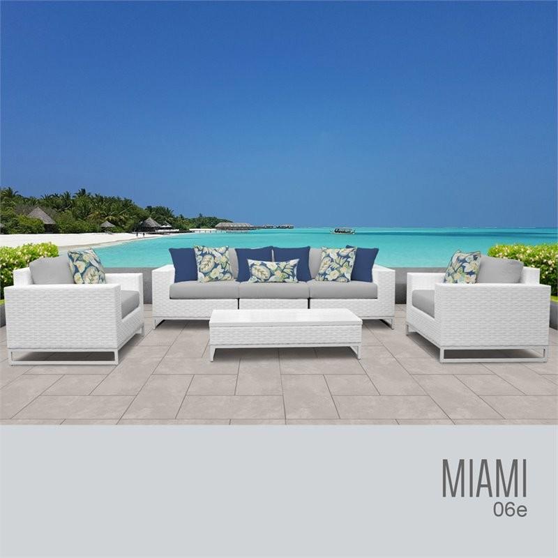 Clearance Furniture Miami: TK Classics MIAMI-06e-GREY Miami 6 Piece Outdoor Wicker
