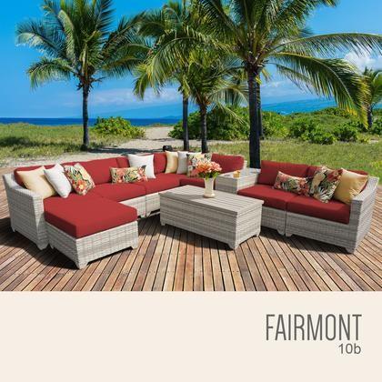 Tk Clics Fairmont 10b Terracotta 10 Piece Outdoor Wicker Patio Furniture Set