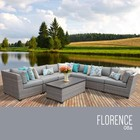 TK Classics FLORENCE-08a-GREY Florence 8 Piece Outdoor Wicker Patio Furniture Set 08a