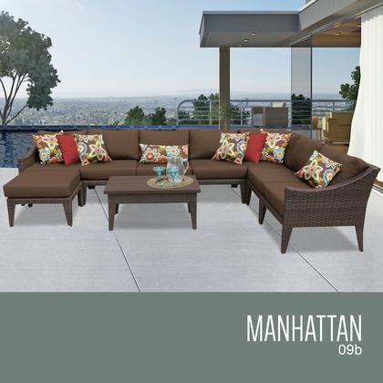 TK Classics MANHATTAN 09b COCOA Manhattan 9 Piece Outdoor Wicker Patio  Furniture Set 09b