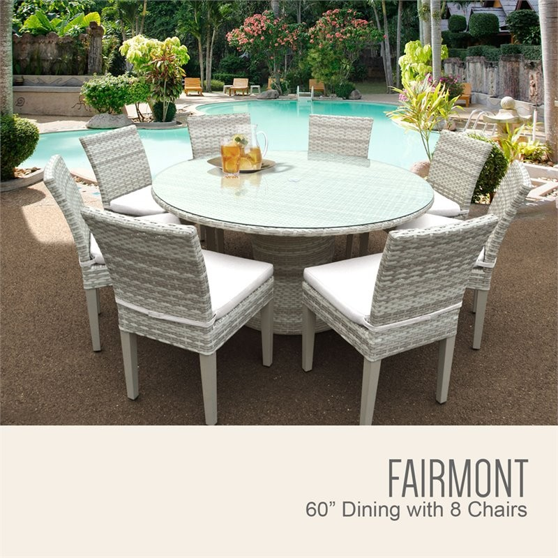 tk classics tkc fairmont 9 piece 60 round glass top patio dining set. Black Bedroom Furniture Sets. Home Design Ideas