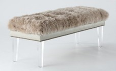 """TOV Furniture TOV-O24 49"""" Wide Bench with Sheepskin Top  Nail Head Accents and Crystal CLear Lucite Legs in Brown"""