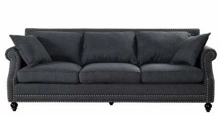 TOV Furniture Camden TOV638023Grey Linen Sofa With Hand Applied Copper Nail  Head Trim Kiln Dried Wood ...
