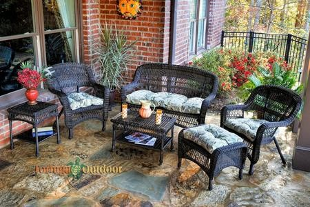 Tortuga Portside PS6S DK RST OLTOB 6 Piece Seating Patio Set With Loveseat  Coffee Table Side ...