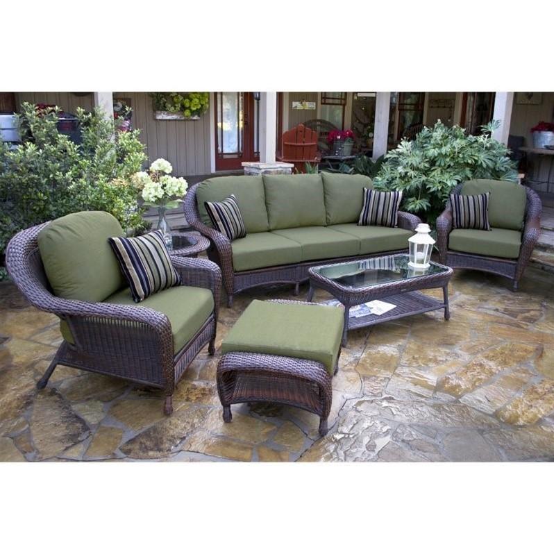 Tortuga Sea Pines 6 Piece Outdoor Sofa Sets-Java/ Rave Brick