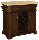 Tresanti KC2578-C270-36 Fontaine Kitchen Islands With 2 Pass-Through Drawers  Soft Close Hinges  2 Towel Bars  Locking Casters  Prominent Rounded Corner Base & In Roasted Cherry Finish