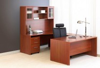 Unique Furniture 1C100011RCH Cherry Executive U Shaped Desk - Right Side with Hutch