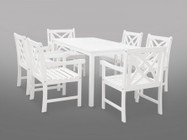 Vifah V1336SET19 Bradley Eco-friendly 7-piece Outdoor White Hardwood Dining Set with Rectangle Table and Arm Chairs