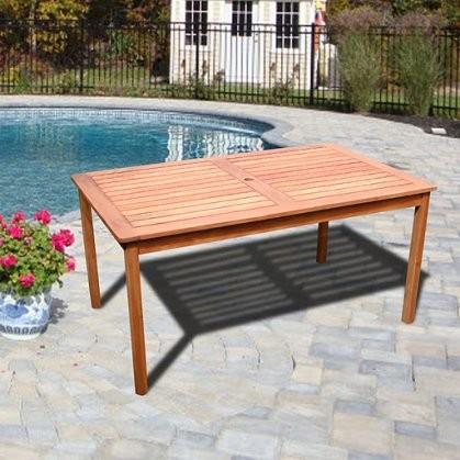 Vifah Malibu Natural Wood Outdoor Rectangular Patio Dining Table