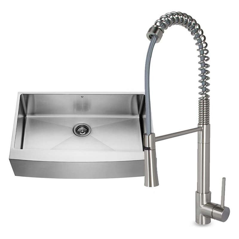 Vigo All In One Camden Farmhouse Kitchen Sink Set: VIGO All-in-One 36-inch Stainless Steel Farmhouse Kitchen