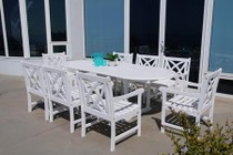 Vifah V1335SET12 Bradley Outdoor 9-Piece Wood Patio Dining Set With Extension Table In White