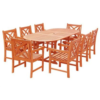 Vifah V144SET25 Malibu Outdoor 9 Piece Wood Patio Dining Set With Extension  Table