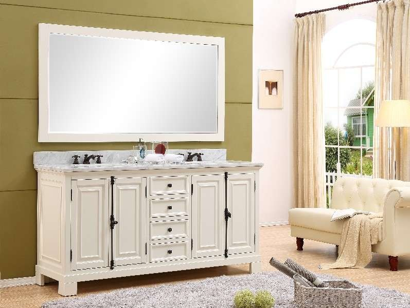 Water creation greenwich 72 antique white double sink - Antique white double sink bathroom vanities ...