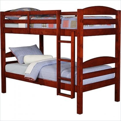 Walker Edison Bwstotch Twin Solid Wood Bunk Bed Cherry