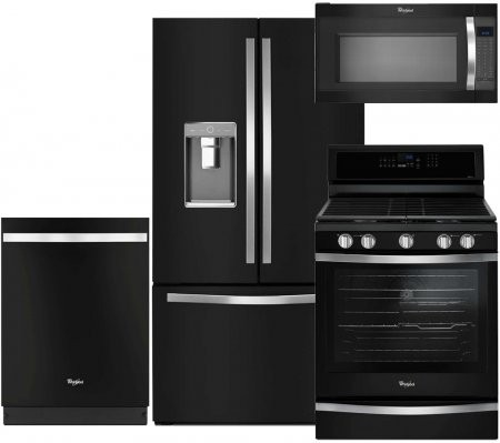Whirlpool 4 Piece Black Ice Kitchen Package With Wrf992fife 36 French Door Refrigerator Wfg745h0fe