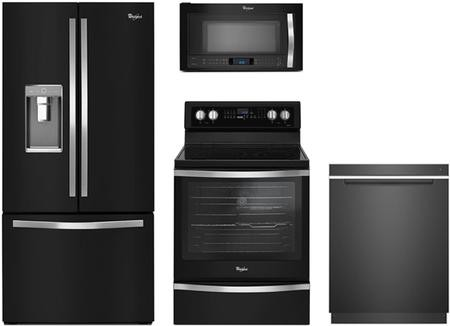 Whirlpool 4 Piece Black Ice Kitchen Package With Wrf992fife 36 French Door Refrigerator Wfe745h0fe 30 Freestanding Electric Range Wmh53520ce Over