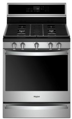 Whirlpool Wfg975h0hz Freestanding Gas Range With 5 8 Cu Ft Capacity Aqualift Technology Fan Convection Ez Lift