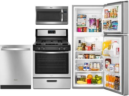 Whirlpool 4 Piece Stainless Steel Kitchen Package With Wrt111sfdm 24 Top Freezer Refrigerator Wfg320m0bs 30 Gas Freestanding Range Wdt720padm 24 Fully Integrated Dishwasher And Wmh31017fs 30 Over The Range Microwave Discount Bandit