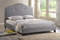 Wholesale Interiors BBT6292 BED-GREY LINEN-KING Baxton Studio Marsha Scalloped Linen Modern Bed With Upholstered Headboard - King Size  In Grey