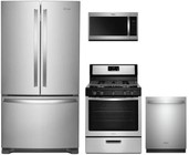 "Whirlpool 4 Piece Kitchen Package With WRF535SWHZ 36"" French Door Refrigerator   WFG505M0BS 30"" Gas Freestanding Range  WDT730PAHZ 30"" Over the Range Microwave Oven and WDT730PAHZ 24"" Built In Dishwasher in Stainless Steel"