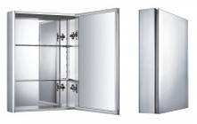 Whitehaus WHKAL Vertical Wall Mount Medicine Cabinet With Mirrored Door  Two Adjustable Glass Shelves  And Mirror Faced Back Wall.